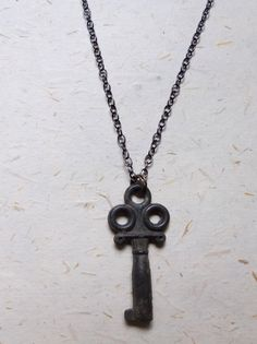 Upcycled Recycled Repurposed vintage brass key on blackened, sterling silver chain. by OakbyLoriFrench, $32.00