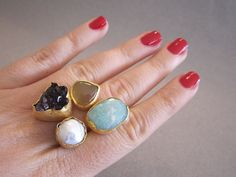 Blue Opal AmethystePearl and Honey Agate  Ring by BeMeJewellery, $44.99
