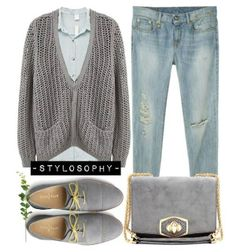 Spring Outfit. Have sweater, jeans, and grey pumps!