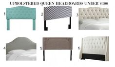 Loads of tips for how to organize, decorate and add style to a small bedroom. Ready made upholstered headboards have become so affordable over the last couple of years. Each one of these queen size headboards is under $300, with many of them being under $200.