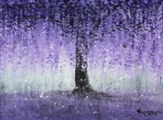 ART PRINT Wisteria Tree Blossoms Purple Flower Petals Painting Abstract by Kume