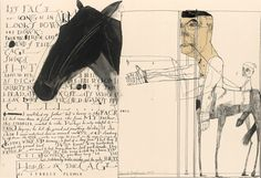 Scathing, scratchy social commentary, collage and great drawing all rolled up into one from David Hughes… read some Hughesisms over at his blog David Hughes Flogs The Dog. He publishes some of his children's books under the name of Sandy Turner. Below, endpapers from 'Grow Up'…