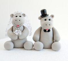 Hippo Wedding Cake Topper by artsinhand on Etsy