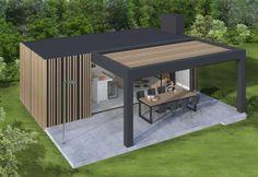The only - pool house, Backyard Patio Designs, Pergola Designs, Pergola Patio, Outdoor Rooms, Outdoor Living, Outdoor Decor, Garage Guest House, Gazebos, Modern Pergola