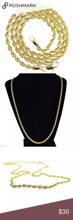 """Gold Rope Chain 24"""" 4MM Hip Hop Fashion Men NEW Brand new and factory fresh, 14K gold plated, men's necklace rope chain. Dazzling hip hop rope chain measures 24"""" inches long and 4mm wide. Old school 1980's style rope chain necklace is solid and weighs 25 grams!! Twisted braided rope chain necklace with a secure lobster claw clasp.  Rope necklace is finished with beautiful gold plating over base metal.  Superior quality hip hop fashion necklace that will turn heads. Accessories Jewelry"""