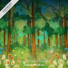 Watercolor forest with flowers Free Vector