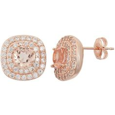 Peach Quartz Doublet & Cubic Zirconia 18k Rose Gold Over Silver Halo... ($53) ❤ liked on Polyvore featuring jewelry, earrings, accessories, pink, stud earring set, 18k rose gold earrings, cz stud earrings, round stud earrings and zirconia stud earrings