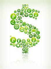 Dollar Sign Environmental Conservation Green Vector Button Pattern. vector art illustration