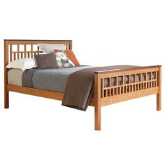 Modern American Trellis Bed shown in Cherry with Walnut Accents, available at Vermont Woods Studios