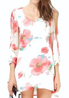 White Floral Long Sleeve Wrap Chiffon Mini Dress