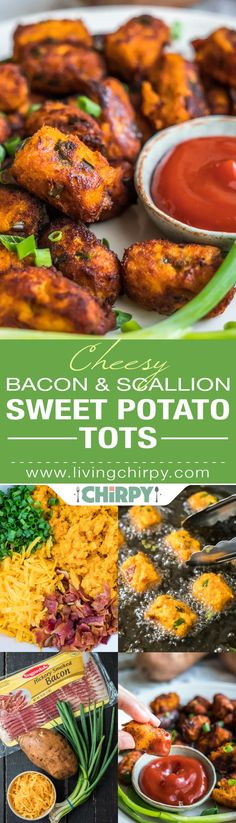 Cheesy Bacon Scallion Sweet Potato Tots - Delicious homemade sweet potato tater tots bursting with cheddar, bacon & scallion flavor! Want a chance to win a $100 Visa gift card? Tell me your favorite bacon recipe in the comment section of my blog! #ad #sk