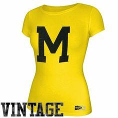 adidas Michigan Wolverines Ladies Exodus Cap Sleeve T-Shirt - Maize
