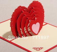 Cheap 2013 venta caliente forma de corazón rojo 3d pop up de tarjetas de felicitación de boda, Compro Calidad Tarjetas de Felicitación directamente de los surtidores de China:   2013 venta caliente forma de corazón rojo 3d pop-up de tarjetas de felicitación de boda :             Cada Año Nuevo,
