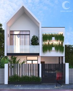 HOuse on Behance Modern Small House Design, Modern Exterior House Designs, Dream Home Design, Exterior Design, Minimalis House Design, Triangle House, Industrial Home Design, Beautiful House Plans, Townhouse Designs