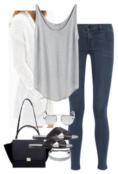 """Sin título #4505"" by marym96 ❤ liked on Polyvore featuring J Brand, Forever 21, Helmut by Helmut Lang, CÉLINE, Ancient Greek Sandals, Michael Kors and Prada"