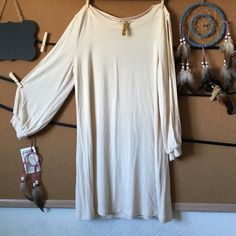 Rachel Pally Nude Open Sleeve Tunic Mini Dress Super duper soft and cute. I love it but it doesn't fit me as well as it used to. The color is perfect for a night out. A hot piece! Needs a new home quick! :) Rachel Pally Dresses