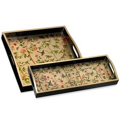 Limited edition lacquered wood tray handmade with Chatsworth Chinese wallpaper design.