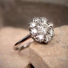 Vintage Style 0.95ct Diamond Cluster Engagement Ring