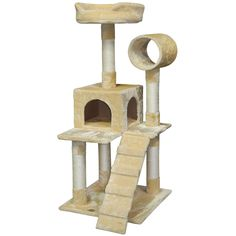 Go Pet Club 50 in. Cat Tree Condo Scratcher Post Pet Bed Furniture Beige 25