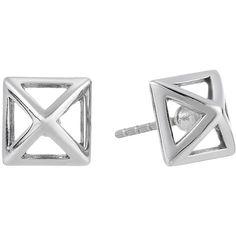 Rebecca Minkoff Cutout Stud Earrings (Imitation Rhodium) Earring (1.635 RUB) ❤ liked on Polyvore featuring jewelry, earrings, post earrings, earring jewelry, nickel free jewelry, cut out earrings and nickel free earrings