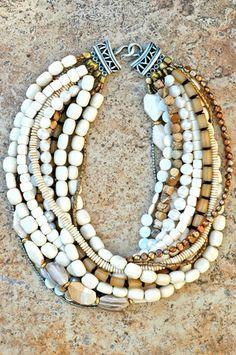 Designer Multi-Strand Bone,Shell and Pearl Necklace