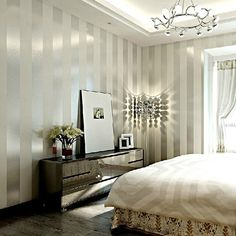 Grey & Sliver Stripe Non Woven Wallpaper for Living room Bedroom, 20.8 In*32.8 Ft=57 Sq.ft - - Amazon.com