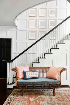 Mix and Chic: Inside a traditional Georgian Revival North Carolina home with a modern flair! Entryway Furniture, Entryway Decor, Ercol Furniture, Blue Chandelier, Bold Wallpaper, Entry Way Design, North Carolina Homes, Bathroom Pictures, Tours
