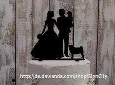 Weiteres - Cake topper Brautpaar mit Kind und Hund - ein Designerstück von SignCity bei DaWanda