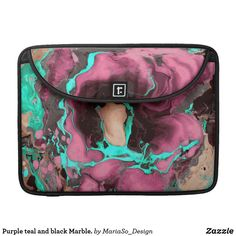 Purple teal and black Marble. Sleeve For MacBook Pro
