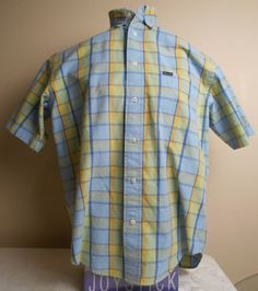 #FACONNABLE #Men's Multi-Color #Plaid 100% Cotton Size M Medium Short Sleeve #Shirt