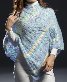 Free Knitting Pattern for Surfside Poncho 2 pieces repeat - Poncho knit with 2 panels with a 10 row repeat of cable, lace, stockinette, and eyelet, and then the panels are sewn together. Designed by Premier Yarns Caplet Pattern, Knit Vest Pattern, Poncho Knitting Patterns, Knit Patterns, Free Knitting, Knit Shrug, Knitted Poncho, Knitted Shawls, Shawls And Wraps