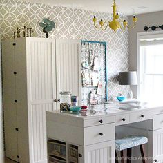 I love this wall stencil for accent walls in my home. I'm thinking first of the landing wall as you go down to basement. Perhaps my wall in the office too? Endless Circles Lattice Moroccan Stencil