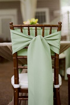 Nashville Garden Wedding | CJ's Off the Square | Sage Green Chair Tie - Photo: JHenderson Studios