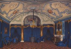 Interiors of the Winter Palace. The Fourth Reserved Apartment. A Bedroom by Edward Petrovich Hau - Architecture, Interiors Drawings from Hermitage Museum