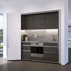 System for Lateral Bi-Fold/Pocket Doors. Sliding Cabinet Doors, Sliding Pocket Doors, Sliding Barn Door Hardware, Petite Kitchenette, Cocinas Kitchen, Hidden Kitchen, Compact Kitchen, Folding Doors, Folding Partition