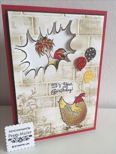 Geburtstag mit Das gelbe vom Ei , SAB 2017 , Ziegel , Stampin up , Design by Peggy Müller