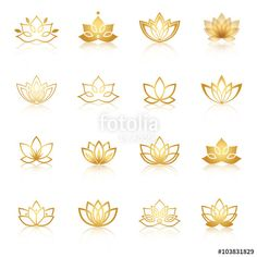 Vector: Golden Lotus symbol icons. Vector floral labels for Wellness ind