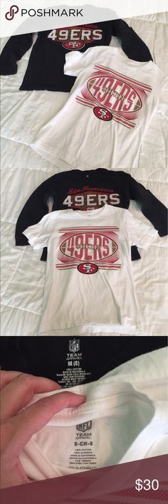 Boys size 8  Sf Niners shirts 49ers Boys size 8. Bundle of two tops.  One is a black long sleeve and white short sleeves. SF San Francisco 49ers. Niners. 49ers. White is like new only worn once it was hanging in the closet and forgot it was there and now it's to small! NFL Shirts & Tops Tees - Short Sleeve
