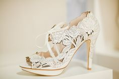 Lasercut high heel wedding shoes by Harriet Wilde, from 'The White Gallery, April 2014 ~ Wedding Dresses, Shoes and Accessories to Watch Out For in 2014/15' // Photography by www.naomikenton.com/