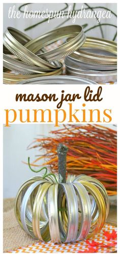 Make your own mason jar lid pumpkins just in time for fall.