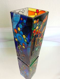 Abstract vase. Hand painted glass by OrdinaryWWonders on Etsy