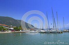 Anchored sailboats at Nydri Marina ,Lefkada,Greece