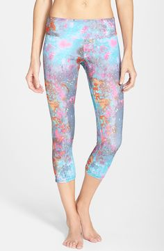 Fast drying and breathable capris in a fabulous cosmic print.