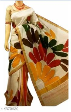 Off-White Handpainted Kerala Cotton Saree - Diy