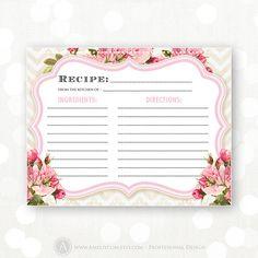 Recipe Cards Printable Bridal Shower Pink Flowers & by AmeliyCom