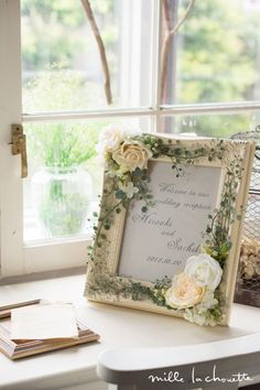 Wedding Reception Frame ~ Actually You Could Do this for Any Occasion or for Everyday Decor Wedding Welcome Signs, Wedding Signs, Bridal Shower Crafts, Welcome Pictures, Creative Flower Arrangements, Rustic Fabric, Cold Porcelain Flowers, Handmade Frames, Wedding Guest Book