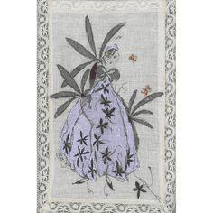 0 point de croix femme en robe fleurs - cross stitch lady in flower dress