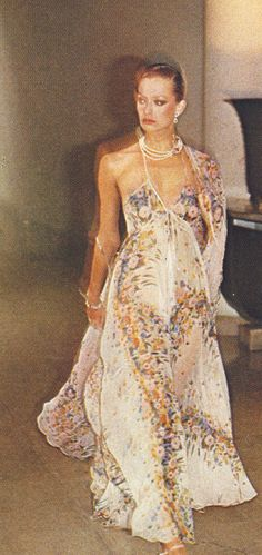 Harpers may 1976 ossie clark designer vintage couture 70s floral maxi dress sheer long gown resort summer shawl white blue yellow halter scraps color photo print ad model magazine island girl