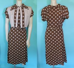 Vtg 40s 50s Brown Spiral Print Rayon Pin Up DRESS 3pc Outfit w Vest S | eBay Vintage Sewing, Vintage Clothing, Vintage Outfits, 20th Century Fashion, Pin Up Dresses, 1930s Fashion, Fashion History, 1940s, Spiral