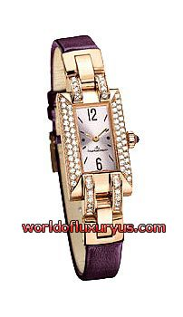JAEGER-LECOULTRE - IDEALE CADRAN SERTI - Q4602501 (PINK GOLD / LIGHT PINK DIAL / BURGUNDY LEATHER STRAP)